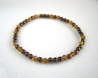 Golden Crystal and Brown Stretch Bracelet Brown Bracelet