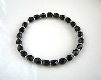 Silver and Black Stretch Bracelet Black Beaded Bracelet Stacking Bracelet