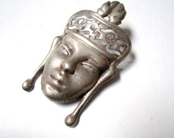 """Vintage Asian Woman Brooch Face Signed Sterling Silver Mask Pin Large Vintage 2 1/4"""" Solid Silver Pin 18 grams"""