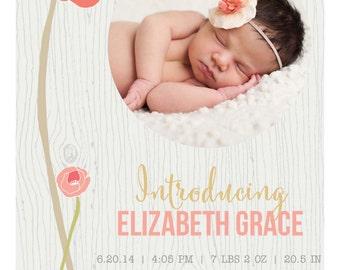 Floral Birth Announcement CORAL GREY ANNOUNCEMENT