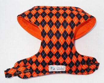 Fall Orange and Black Argyle Comfort Soft Dog Harness. - Made to order -