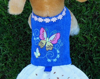 Butterfly Embroidery Denim Harness-Dress.