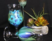Hand Painted Sangria Wine Glass,(Set of 2) Wedding Drinkware, Hand painted Flowers on glass , Birthday Glass