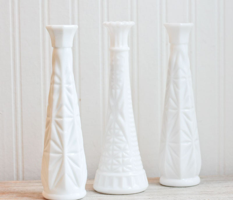 3 White Milk Glass Bud Vases Vintage Flower Vase By MollyFinds