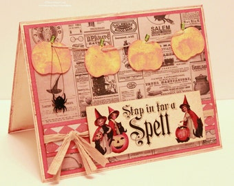 Halloween Card - Stop in For a Spell - Handmade Vintage Halloween Card - Vintage Witch