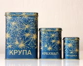 Beautiful blue tin boxes from Soviet Union, set of 3, for groats, starch and clove storage