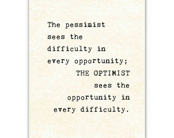 Inspirational Quote Art Print, typography, typewriter, Optimist