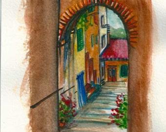 "Original Watercolor Landscape ""TUSCANY"" Italy"
