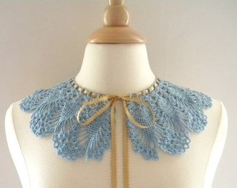 Crochet Collar Victorian Lace Ribbon Collar in Antique Blue