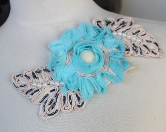 Cute embroidered   and beaded chiffon  flower  applique   blue  color