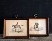 Pair of Vintage Framed Equestrian Prints, Art, Horse Riding, Equine Art, Passage, Leaping