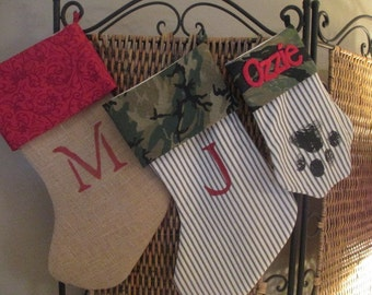 Set of 3 coordinating personalized stockings