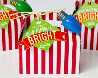 Merry & Bright Christmas PRINTABLE Neighbor Gift Tag from Love The Day
