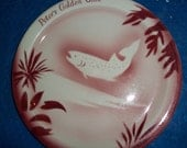 """PETER'S GOLDEN Gate vintage dining plate 9 1/4"""" air brush design Fish 2 available very good condition"""