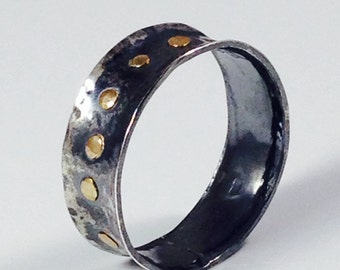 Mens Hammered Sterling Silver and 14k Gold Ring, Handmade