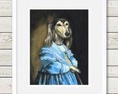 Saluki Art - Saluki in Blue - saluki painting, saluki portrait, dog art, dog painting, dog portrait