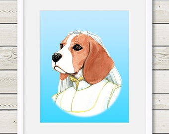 Beagle Art - Beagle Bride Dog Portrait Painting - Wedding Dog Art, beagle painting, beagle portrait, dog gift