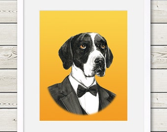 English Pointer Art - English Pointer Groom Dog Portrait Painting - Wedding Dog Art, dog home decor