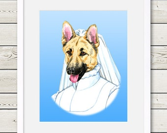 German Shepherd Art - German Shepherd Bride Dog Portrait Painting - Wedding Dog Art, dog home decor