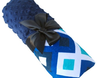 Deco Blue Geometric Minky Baby Blanket With Navy Blue Dot Back Personalization Included over 35 fonts to choose fro