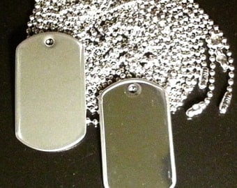 10 Military Tags - Stainless steel blanks with rolled edges - keys dog ID pendants and more