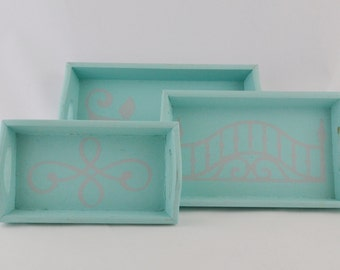 Mint Blue and Grey Nesting Trays