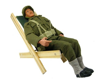Toy Wooden Folding Lounge Chair, olive green fabric for action figures, stuffed animals or dolls