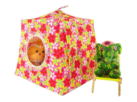Toy Pop Up Tent, Sleeping Bags, multicolor, flower print fabric
