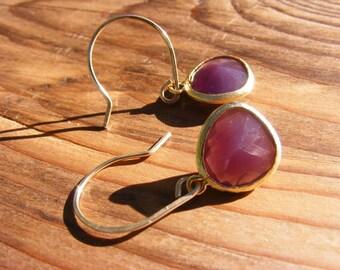 Burgundy Glass Earrings.