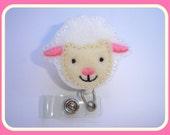 Badge Holder Retractable - Cutest Lamb - white ivory felt - badge reel - medical staff nurse pediatric