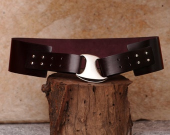 Burgundy Leather Hip Belt, Womens Leather Belt  - Wide Curved Ella Belt