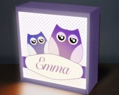 "Owl Girl  8"" x 8"" table top night light, night lights, baby light, nursery lamp, kids light, kids lamp, childrens night light baby light lam"