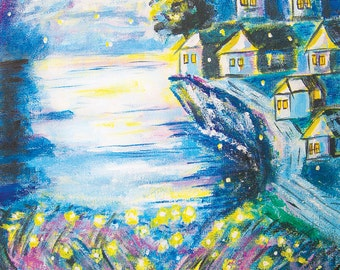 "Magical Moonglow 5x7 Signed Print w/2"" Border - Moonlight, Fireflies, English or French Village, Seaside Cliffs, Whimsical, Ocean, Mystical"