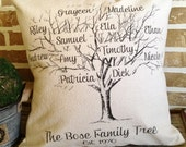 Family Tree Pillow Personalized with Names and Est. Date - Insert Included