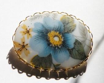 Vintage Blue Flower Brooch 1970s