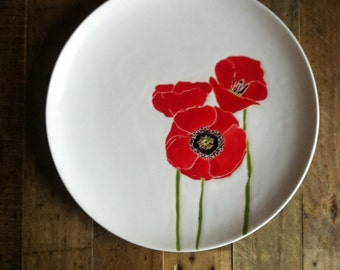 Red Poppies round ceramic serving platter,tray,plate by Jessica Howard Ceramics