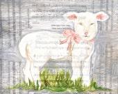 mary had a little lamb, art print, mary had a little lamb print, mary art, little lamb art, nursery rhyme art, nursery art, mary