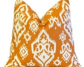 Orange Pillow Cover.Throw Pillows.ONE pillow cover.Raji Ikat.Cushion Cover.Decorator Pillow.18x18 inch.Damask ALL SIZES 46 cm Sweet Potato