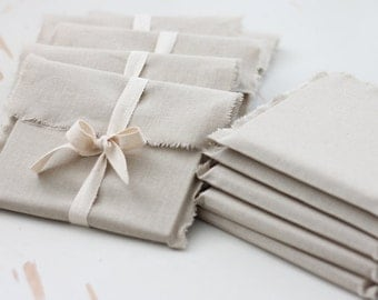 CD packaging - 10 linen fabric envelopes - natural linen CD envelopes