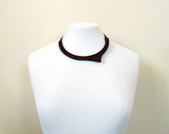 Red Neckpiece-Red Beaded Necklace-Red Collar Necklace-Red Elegance-High Fashion-Modern Beaded Necklace-Beaded Jewelry
