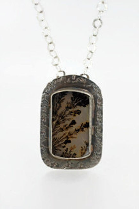 Dendritic Agate Pendant Dramatic  in Sterling Silver