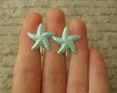 pearl starfish clip on earrings - pearl blue starfish