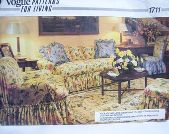 Chair covers Couch Slip cover Ottoman cover tailored and ruffled Vogue 1711 Uncut
