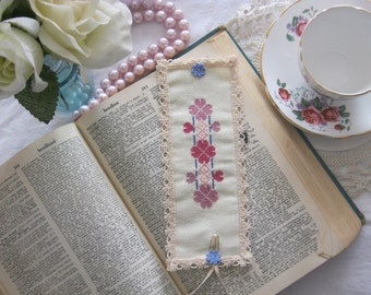 Victorian Lace Purple Clover Cross Stitch BookMark-Free Shipping