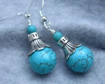 Turquoise Bead Earrings, Dangle Earrings, Bead Earrings, Drop Earrings