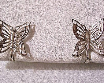 Butterfly Bug Clip On Earrings Silver Tone Vintage Open Filigree Detailed Wide Wings Design