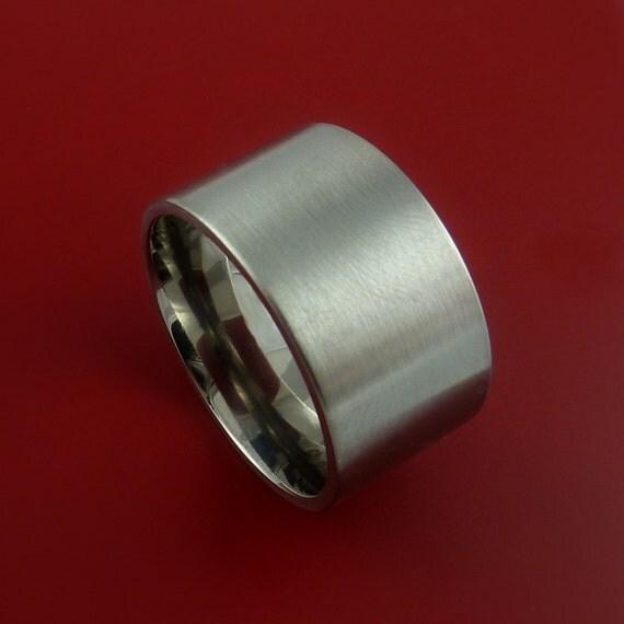 titanium wide wedding band engagement ring made to any sizing