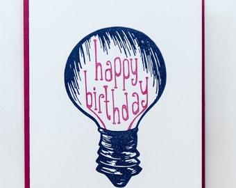 "Old School | ""Happy Birthday"" Letterpress Birthday Card"