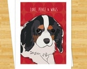 Dog Christmas Cards - Tricolor Cavalier King Charles Spaniel Love Peace Wags - Cute Christmas Cards Holiday