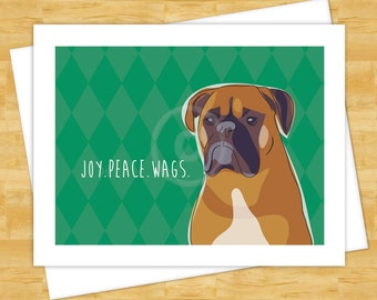 Christmas Cards - Boxer Dog Joy Peace Wags - Happy Holiday Cards